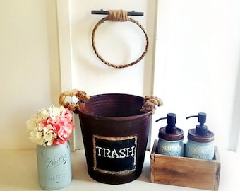 Mason Jar Bathroom Set .Rustic. Jute Rope Towel Ring. Wood Soap Dispenser Box. Hand Painted Soap and Lotion Label. Farmhouse Bathroom Decor.