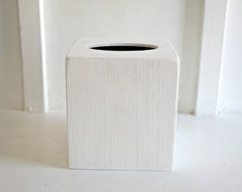 White Farmhouse Tissue Box Cover. Wood Tissue Box Cover. No Distressing. Tissue Box Cover. Farmhouse Home Accents. Rustic Decor. Fixer Upper