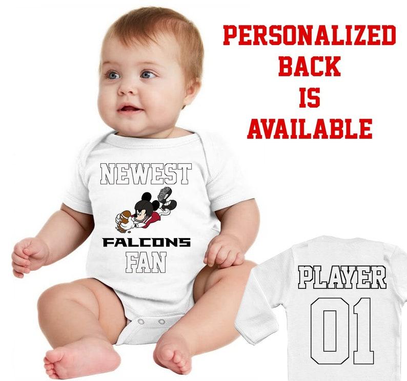 brand new 697b9 1a481 Baby Bodysuit Atlanta Falcons Baby Newest fan Vest Funny Baby Child One  Piece boy's girl's Clothing girl Kid's Shower Bodysuits shirt mickey