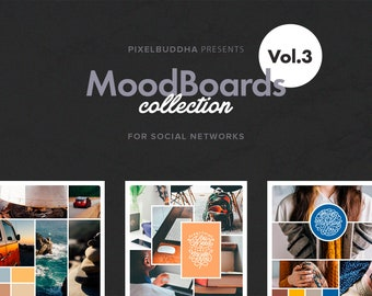 social media moodboard template collage template inspiration etsy