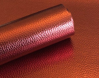 Dark Red Metallic Litchi faux leather.  Faux leather material.  leather for bow or jewerly making.   leather for diy crafts.