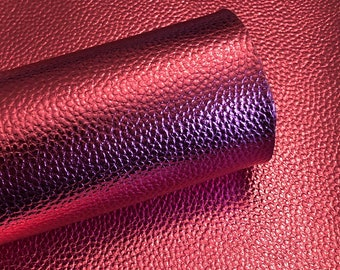 Pink Metallic Litchi faux leather.  Faux leather material.  leather for bow or jewerly making.   leather for diy crafts.