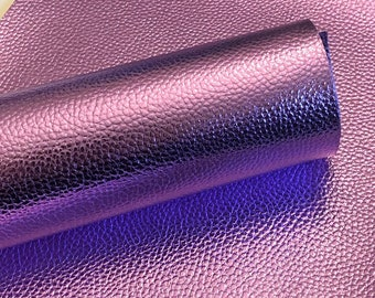 Light purple Metallic Litchi faux leather.  Faux leather material.  leather for bow or jewerly making.   leather for diy crafts.