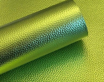 Kiwi green Metallic Litchi faux leather.  Faux leather material.  leather for bow or jewerly making.   leather for diy crafts.