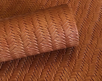 Cinnamon Brown Braided fishtail.  8 by 11 leather sheet.  leather for bow or jewerly making.   leather for diy crafts.