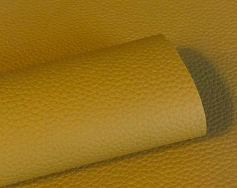 Mustard yellow Litchi faux leather.  Faux leather material.  leather for bow or jewerly making.   leather for diy crafts.