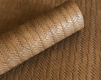 Oak brown Braided fishtail.  8 by 11 leather sheet.  leather for bow or jewerly making.   leather for diy crafts.