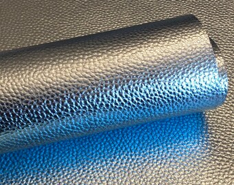 light blue Metallic Litchi faux leather.  Faux leather material.  leather for bow or jewerly making.   leather for diy crafts.