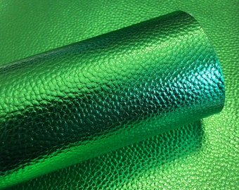 Green Metallic Litchi faux leather.  Faux leather material.  leather for bow or jewerly making.   leather for diy crafts.
