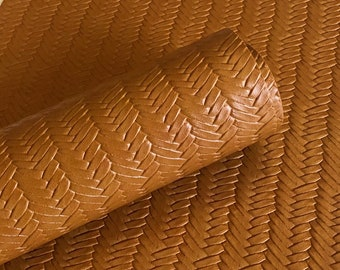 Tawny Brown Braided fishtail.  8 by 11 leather sheet.  leather for bow or jewerly making.   leather for diy crafts.
