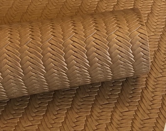 Peanut Brown Braided fishtail.  8 by 11 leather sheet.  leather for bow or jewerly making.   leather for diy crafts.
