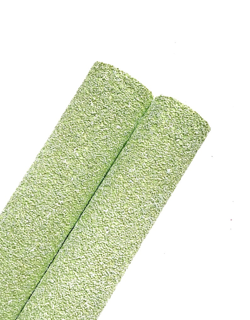 Granny Apple Green - lime green glitter fabric material  Glitter fabric for  bow or jewerly making  EEXR-070-7