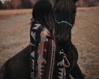 Large Night Sky Blanket - Boho Geometrical Throw- Wool Blend Blanket - Tribal Blanket - Native Blanket - Picnic Blanket - Throw Blanket