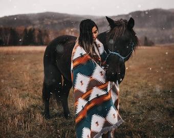 Large Desert Blanket - Boho Geomeometrical Throw - Wool Blend Blanket - Housewarming gift - Camping Blanket - Throw Blanket - Yoga Blanket