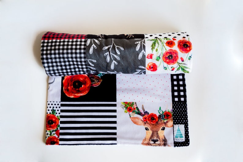New Baby Gift Baby Blankets Boy Floral Woodland Quilt Minky Baby Blanket- Plaid Baby Bedding Baby Shower gifts boy Plaid Nursery