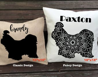 Personalized Shih Tzu Pillow - Silhouette Pillow - Dog Pillow Cover - Burlap Pillow - Home Decor - Decorative Pillow - Dog Decor