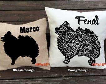 Personalized Pomeranian Pillow - Silhouette Pillow - Dog Pillow Cover - Burlap Pillow - Home Decor - Decorative Pillow - Dog Decor