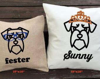 Personalized Schnauzer Cartoon Pillow - Silhouette Pillow - Dog Pillow Cover - Burlap Pillow - Home Decor - Decorative Pillow - Dog Decor