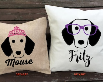 Dachshund Pillow - Personalized Doxie Silhouette Pillow - Dog Pillow Cover - Burlap Pillow - Home Decor - Decorative Pillow - Dog Decor