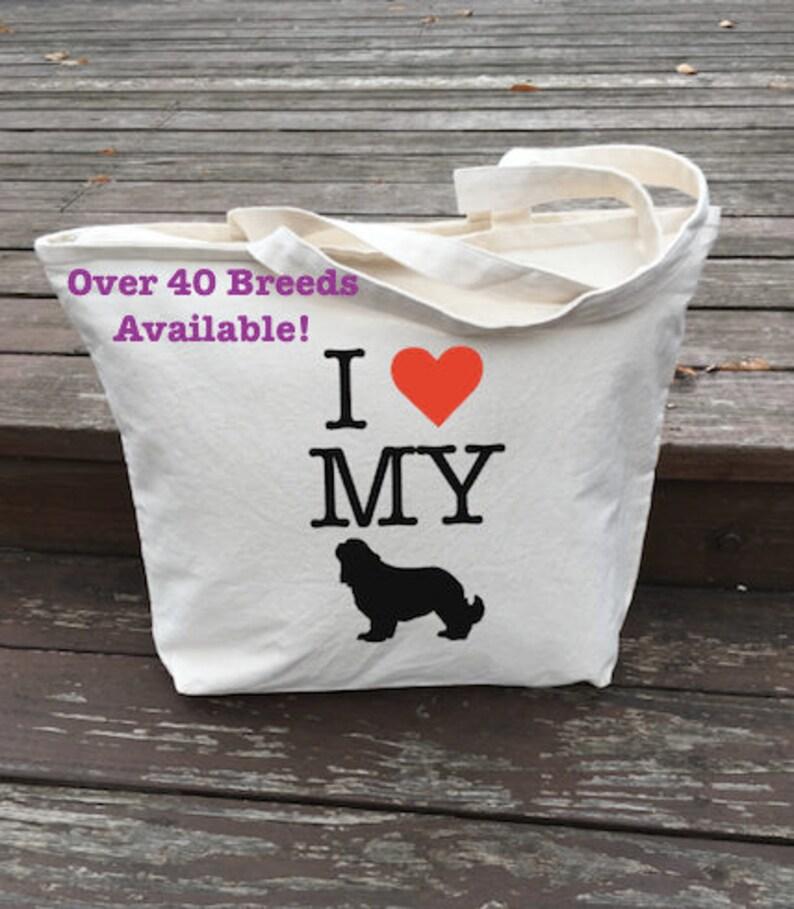 Dog Tote Bag Dog Tote Carrier Dog Bag Zipper Pocket Dog Tote Bag I Love My Dog Funny Dog Saying Tote Bag Doggy Daycare Bag