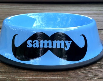 Personalized Blue Dog Bowl with Mustache- Personalized Dog Bowl - Custom Dog Bowls - Dog Dish - Dog Bowls - Dog Bowl with Name