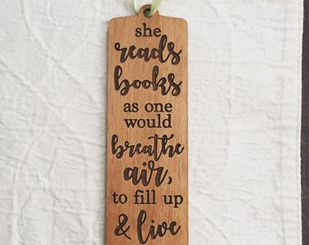 Engraved Wooded Bookmark - From Real Wood for the Reading Lover  - Anne Dillard