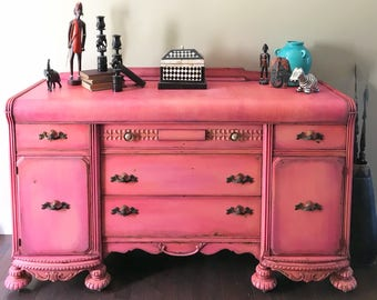 SOLD!!!     Vintage Boho Dresser or Buffet Eclectic Entryway Table or Credenza Shabby Chic Sideboard Farmhouse Console Table