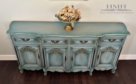 Sold French Country Buffet Farmhouse Credenza Shabby Chic Sideboard Vintage Entryway Table Distressed Console Bathroom Vanity
