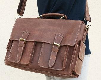 Vintage full grain leather messenger bag men, leather messenger bag, laptop bag, handmade leather bag