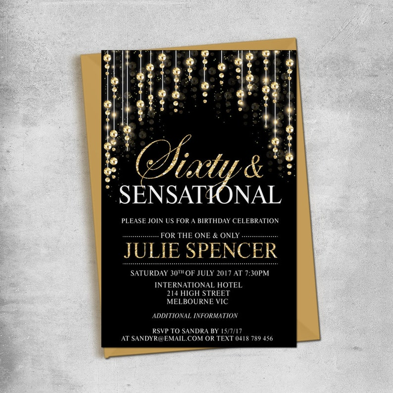 Sixty And Sensational Birthday Invitations Gold Rose