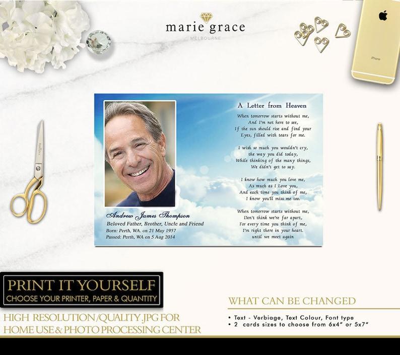 Memorial Card, Funeral Card, Prayer Card, - Blue Skys, Heaven Funeral Card