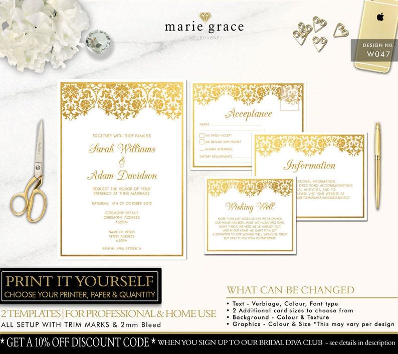 Gold Damask Wedding Invitation Gold Wedding Invitations Template