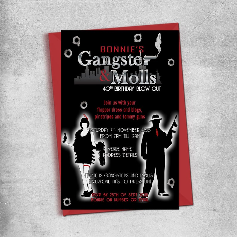 Gangster And Moll Party Birthday Invitations Mob Mafia Flapper Invitation