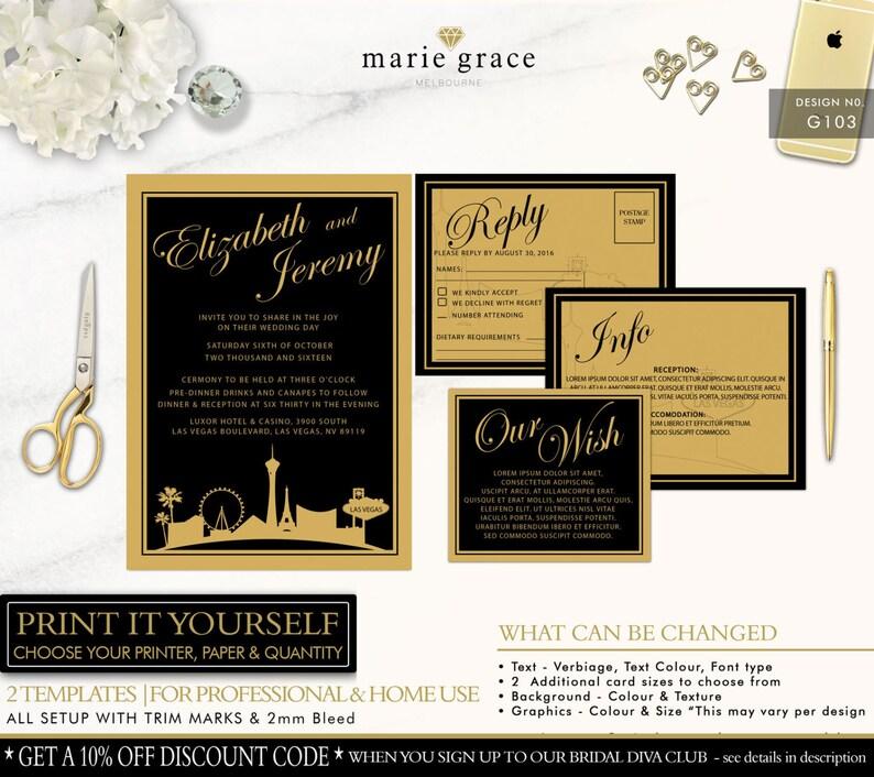 Las Vegas Wedding Invitation Black And Gold Template