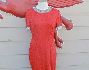 Vintage Red Sequin Holiday Dress