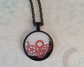 Steampunk Necklace Handmade Red Gears Resin One Inch Round Pendant