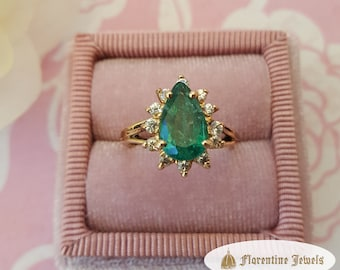 Pear Shaped Genuine Natural Colombian Emerald Ring Surrounded with White Sapphires in 14kt Yellow Gold Designer Ring