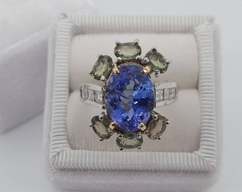 Tanzanite Ring Accented With Green Sapphires and White Diamonds Set in 14 kt. White Gold Handmade Engraved Designer Ring & Appraisal
