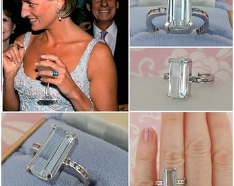5 Carat Genuine Aquamarine with White Sapphires, Princess Diana Aquamarine Ring, 14 kt White Gold Cocktail Ring