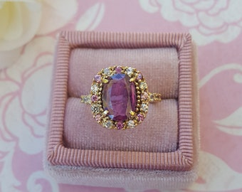 Natural Pink Sapphire Ring, 14 kt Gold Halo Ring Accented with Multi Color Sapphires, Pink Sapphire Engagement Ring, Royal Engagement Ring