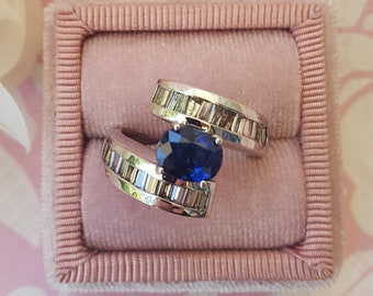 AAA Finest Quality Natural Ceylon Sapphire Ring With Genuine White Diamond Baguettes 14 kt White Gold Handmade Designer Engagement Ring