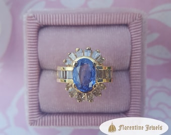AAA Finest Quality Natural Ceylon Sapphire Ring With Genuine White Diamond Baguettes 14 kt Yellow Gold Handmade Designer Engagement Ring