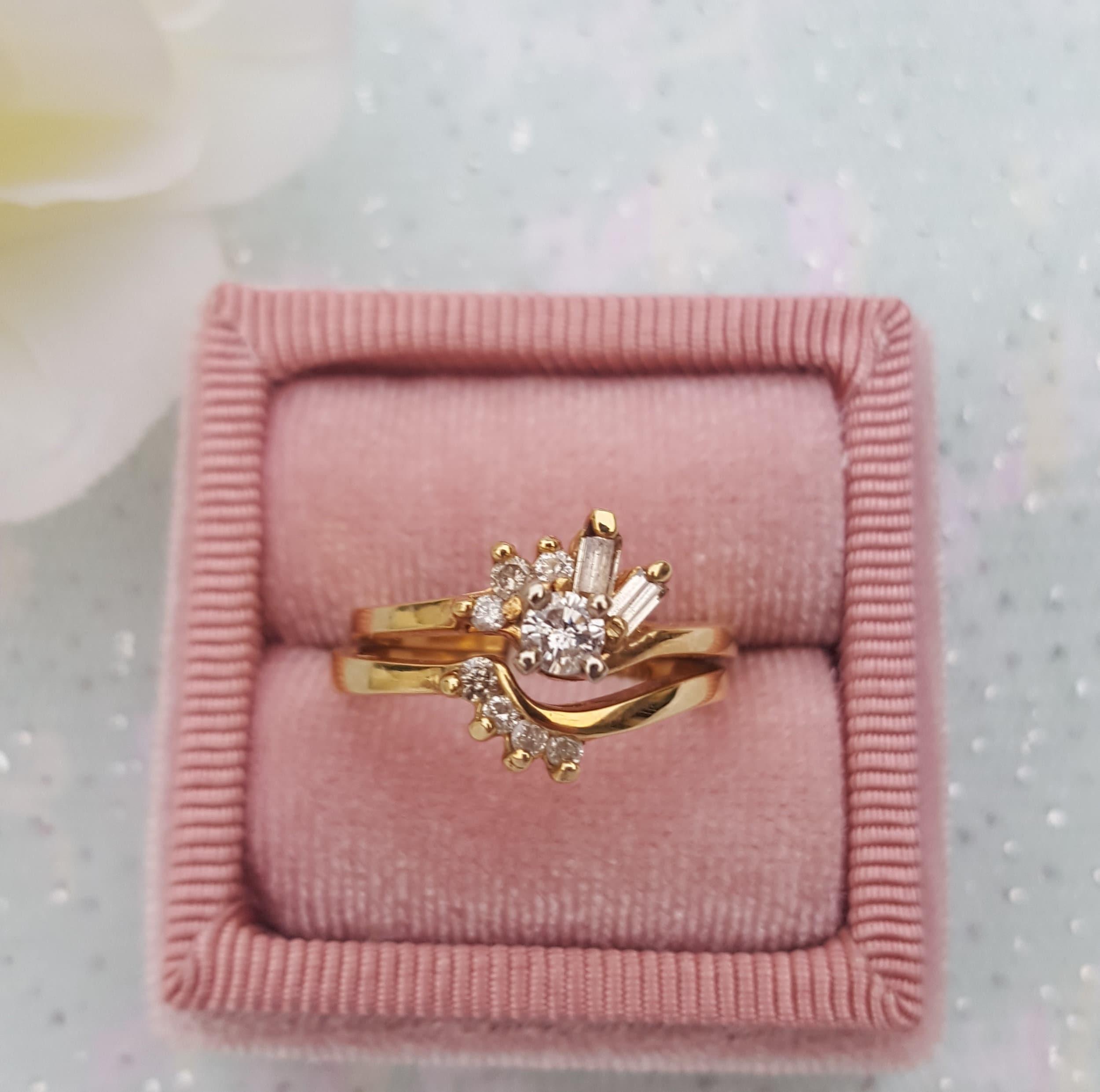 Diamond Gold Bridal Ring Set Diamond Engagement Ring With