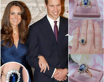 Princess Kate Engagement Ring Featuring a Genuine Natural Ceylon Sapphire with Genuine White Sapphires in 14kt Yellow Gold Engagement Ring