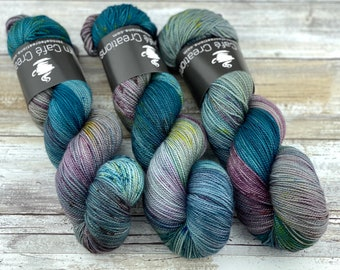 2-ply Fingering Weight | September Storm | Hand Dyed Yarn | Superwash Merino Wool