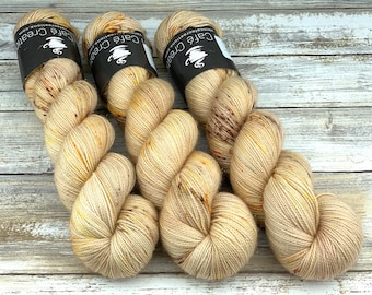Gold Stellina | Acorn | Hand Dyed Yarn | Superwash wool