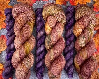 Sock Set   85/15 SW Merino/Wool Sock Weight  Hot Cider Nog and Mulled Plum Cordial   Hand Dyed Yarn   Superwash wool