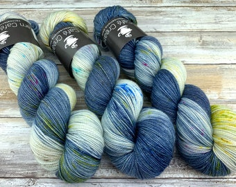 Gold Stellina | Rainbow Storm | Hand Dyed Yarn | Superwash wool