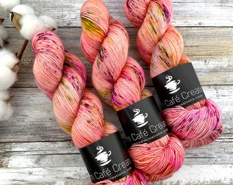 Merino/Linen Blend SW Fingering Weight | Orange Blossom | Hand Dyed Yarn | Superwash wool