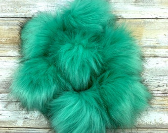 Peacock Feather | Pom Pom | Snap on Pom Pom | Faux Fur Pompom